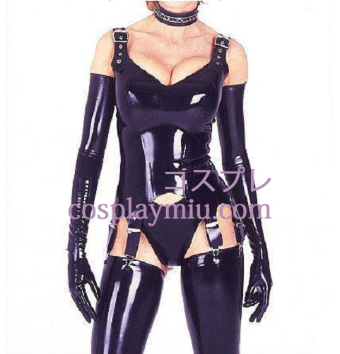 Erogenous Straps Gloves Latex Catsuit