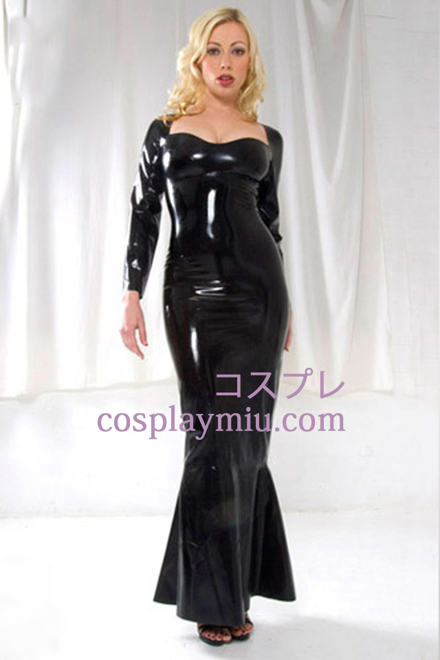 Black Long Sleeves Sexy Latex Dress