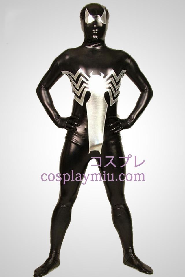 Black Big Spiderman Full Body Shiny Metallic Zentai Suit