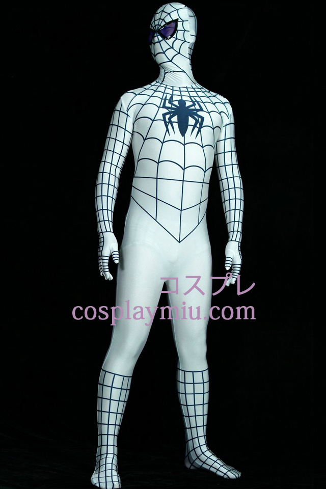 White And Black Lycra Spandex Spiderman Superhero Zentai Suit