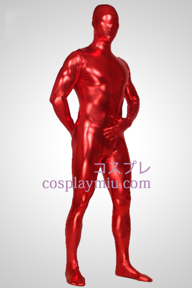 Red Shiny Metallic Full Body Unisex Zentai Suit