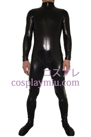 Black Shiny Metallic Zentai Suit