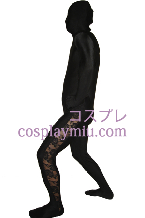 Black Lycra Lace Zentai Suit