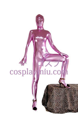 Pink Sexy Back Zipper Shiny Metallic Zentai